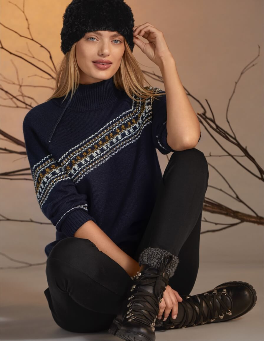Model wearing Fair Isle Pullover in Dark Sapphire from the New Arrivals collection and Lean Legging in Black from the Mainline Collection.