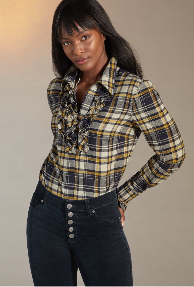 Model wearing the Seattle Shirt in Blue Check and Button Fly Skinny in Dark Sapphire.