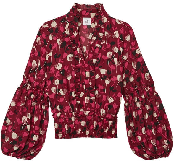 Corsage Blouse in Wine Blossom